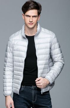 0cd19af07f02b Men s Winter Duck Down Ultra Light Thin Jacket Stand Collar Outerwear Coat  Men s Style