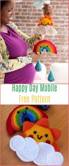 Crochet Happy Day Mobile Free Pattern - Crochet Baby Shower Gift Ideas Free Patterns