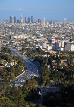 The 101 freeway dropping down from Cahuenga Pass into Hollywood and heading towards Downtown Los Angeles, California