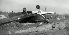 Hurricane Mk I YB-F lies overturned in France in 1940. No 17 Squadron RAF flew from Le Mans from 8 June 1940 under the command of S/L Cedric W Williams. Prior to retreating from Dinard 9 days later to Jersey and Guernsey where they operated for 2 days over the Cherbourg peninsular before moving on to RAF Debden on 19 June, the pilots found some abandoned motorcycles and raced them around the Circuit de la Sarthe.