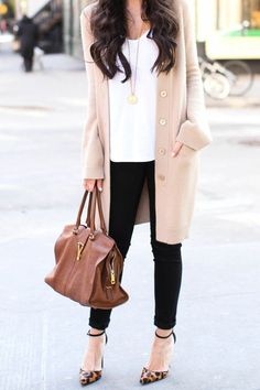 These three colors make a very modern  feminine look. The ankle pant with the heels add to the long sweater.