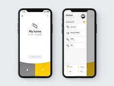 Smart stick lock control UI by Homrin Wireframe Design, Web Ui Design, Layout Design, Design Design, Design Ideas, App Design Inspiration, Daily Inspiration, Mobile Ui Design, Mobile App Ui