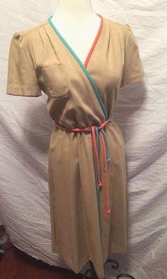 Vintage 1970's PBJ Stewardess flight attendant school girl secretary wrap dress #PBJ #SecretaryStyle