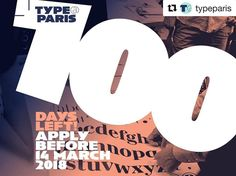 #Repost @typeparis (@get_repost)  100 days left! TypeParis is an intensive typeface design programme based in Paris. Our unique approach continues the long tradition of type design study that started in France back in the 1970s. The #typeparis18 programme will take place between 11 June 2018 and 13 July 2018. Apply before the 14 March 2018 to learn from renowned professionals and experienced instructors! To don't miss the application deadline subscribe to our mailing list! (Link on profile)…