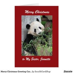 """Merry Christmas Panda Greeting Card, Red Border - This colorful card is decorated with our original photo of a cute giant panda. You can customize it to make it even more special. A super way to wish someone """"Merry Christmas"""". All Rights Reserved © 2013 Alan & Marcia Socolik."""