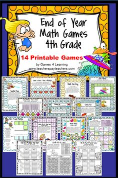 End of Year Math Games Fourth Grade by Games 4 Learning - This collection of end of year games contains 14 printable games that review a variety of fourth grade skills. These games are ideal as end of year games. $