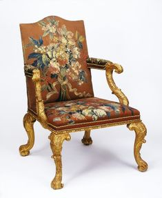 Armchair by Elwick, Edward, ca. 1750 (made). Armchair with tapestry upholstery from Wentworth Castle. Upscale Furniture, Georgian Furniture, Furniture Styles, Antique Furniture, French Furniture, Upholstered Furniture, Furniture Decor, Furniture Design, Winged Armchair