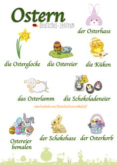 words for Easter German Grammar, German Words, Germany For Kids, German Resources, Study German, Deutsch Language, Germany Language, German Language Learning, Grammar And Vocabulary