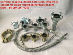 Air coupling, universal coupling, claw coupling, whipcheck safety cable, double bolt clamp!