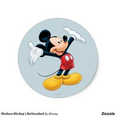 Modern Mickey | Airbrushed. Producto disponible en tienda Zazzle. Product available in Zazzle store. Regalos, Gifts. Link to product: http://www.zazzle.com/modern_mickey_airbrushed_classic_round_sticker-217204985625138994?CMPN=shareicon&lang=en&social=true&rf=238167879144476949 #sticker #disney
