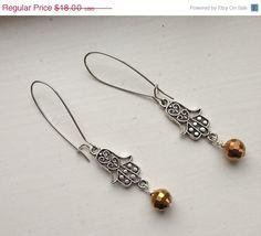 Beautiful Filigree Silver Hamsa Drop Earrings by goldenhandscreations