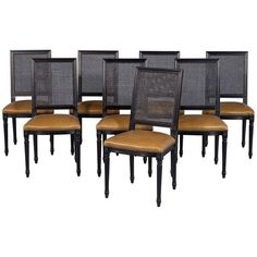 Set of Eight Custom Black Lacquered Louis Capet Cane Back Side Chairs | From a unique collection of antique and modern dining room chairs at https://www.1stdibs.com/furniture/seating/dining-room-chairs/