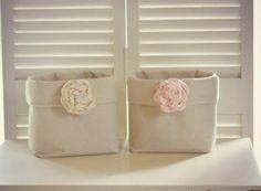 2 Fabric Storage Baskets Shabby Chic Bins Organizing Pink and Ivory Decor Nursery Decor Diaper Holder Baby Girl Room Organizer