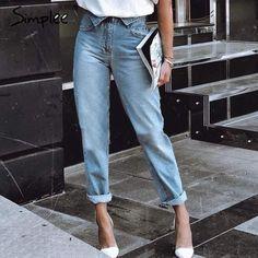Fold-over waist blue jeans Light Denim Blue / S 90s Jeans, Mode Jeans, Fall Jeans, High Jeans, Denim Jeans, Jeans Pants, Casual Jeans, Estilo Fashion, Look Fashion