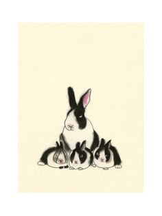 Bunny Rabbit art print - 4 for 3 SALE Rabbit Family Portrait  -  4 X 6 print. $7.00, via Etsy.