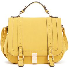 ShoeDazzle Bags Francois Womens Yellow ❤ liked on Polyvore featuring bags, handbags, wallets & cases, yellow, handbag satchel, satchel handbags, beige satchel, satchel bag and fold-over crossbody bags