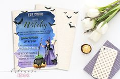 Printable Halloween Invitation Bats Witch with by BubamaraDesigns