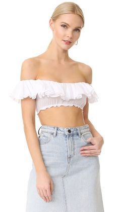 TOME Ruffle Crop Top. #tome #cloth #dress #top #shirt #sweater #skirt #beachwear #activewear