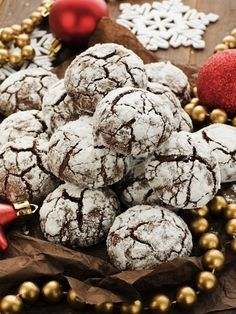 Snowy Chocolate Chewies recipe. This decadent holiday treat is sure to bring a smile to Santa's face!