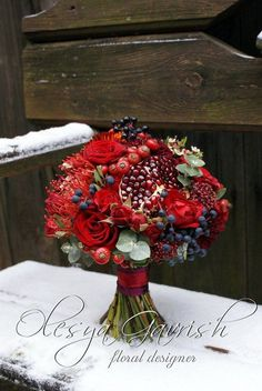 Berries & floral table centerpiece or bouquet Christmas Wedding Flowers, Fall Wedding Bouquets, Bride Bouquets, Flower Bouquet Wedding, Floral Bouquets, Pomegranate Wedding, Food Bouquet, Festa Party, Wedding Table Centerpieces