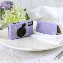 Lilac and White Heart Disposable Camera