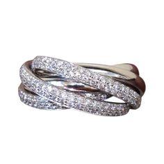 1stdibs.com | Diamond 6-Band Rolling Ring set in 18k White Gold