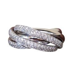 1stdibs.com | Diamond 6-Band Rolling Ring set in 18k White Gold