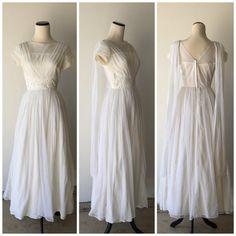 Eloise 1950s Vintage Dress White Chiffon by RadPlaidVintage