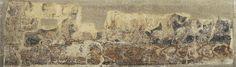 Pintures profanes de Sixena: Cavallers que surten d'un castell cap a la batalla | Museu Nacional d'Art de Catalunya