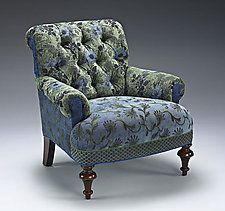 """Middlebury Chair: Larkspur by Mary Lynn O'Shea (Upholstered Chair) (33.5"""" x 32"""")"""