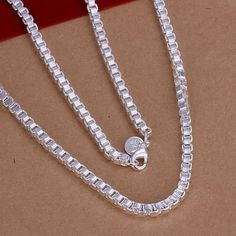 Fashion silver plated Chain 4mm/20inch Box Chain Necklaces Pendants For Women Men jewelry SMTN016