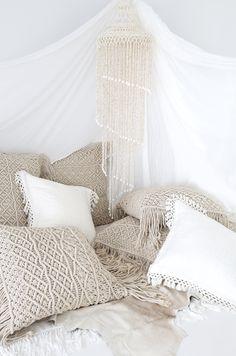 Kalyan & Indrani Macrame Cushions && Charvi Cushions and Rain Dance… Bohemian Interior, Bohemian Decor, Boho Chic, Bohemian Bedding, White Bohemian, Boho Pillows, Interior Flat, Interior Design, Home Bedroom