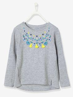 5472be1022ba2 T-shirt fille brodé gris chiné - De jolies broderies et des détails de  pompons