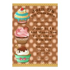 Cupcake Wars Bake Off Birthday Brown Dot Invite - bridal shower gifts ideas wedding bride