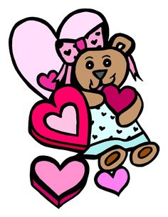 Valentine Pink Heart Candy and Bear-Digital Download-ClipArt-ArtClip