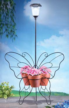 Solar Lantern Metal Butterfly Plant Holder
