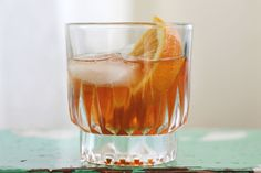 A Dolled Up Old Fashioned: Whisky, St-Germain, Angostura Bitters, Orange Slice, Homemade Sour Mix. Via A Beautiful Mess