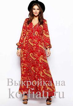 Платье в стиле бохо - выкройка. Предлагаем вам сшить это потрясающее яркое платье в стиле бохо! Яркий принт, бесспорно, солирует, и вы произведете фурор...