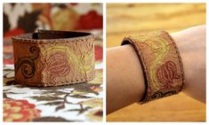DIY Projects: How to turn an old leather belt into a Cuff Bracelet @joy49jlm