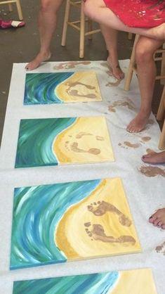 Painted footprints picture. #easycanvaspainting