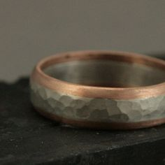 All on the Inside - 14K Rose Gold Edged Sterling Silver Hammered Men's Band - Two Tone Men's Wedding Band - Matte or Oxidized Finish