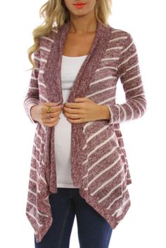 4ae9916cc318d Burgundy White Striped Knit Maternity Cardigan Maternity Dress Outfits, Maternity  Fashion, Affordable Maternity Clothes