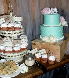 Say I do with this lovely wedding cake and cupcakes!