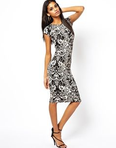 AX Paris Midi Dress in Monochrome Print