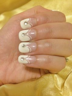 Wedding nails! French with a touch of bling. Nail art.