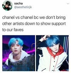Why only support ONE when you can support BOTH and NOT get caught in fan wars bc they're the ABSOLUTE FUCKING WORST. Rather you can sit back and watch the drama that you ARENT involved in bc you're not immature and feel the need to bring down other ppl to feel as though you're validating your faves. Not asking to know both life stories,, not even asking to know more than 5 songs from either,, just don't be a petty bitch towards either bc they haven't done anything to deserve it