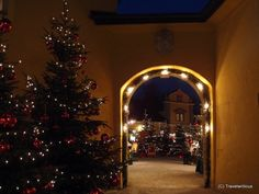 Gate of the Christmas market on the grounds of Hellbrunn Palace in Salzburg, Austria