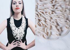 cotton rope interwaved necklace by alienina alienina.com Cotton Rope, Contemporary Jewellery, Macrame, Fashion Accessories, Diy, Beads, Tank Tops, Crochet, Inspiration