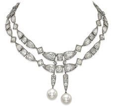An Art Deco natural pearl and diamond necklace from the private collection of Baroness Edouard de Rothschild, which sold for $5.19 million, more than five times its pre-sale estimate