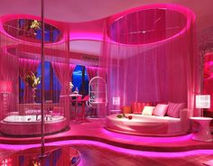 Dream Rooms Pink - Decoration Home Cute Bedroom Ideas, Cute Room Decor, Girl Bedroom Designs, Awesome Bedrooms, Cool Rooms, Neon Bedroom, Girls Bedroom, Bedroom Decor, Hot Pink Bedrooms